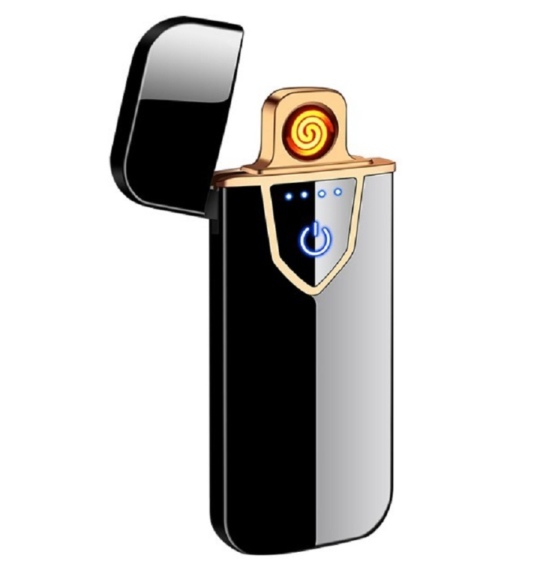 Slimline Windproof Rechargeable Lighter - Frosted Black